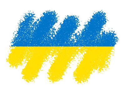 ウクライナの国旗-クレヨン1