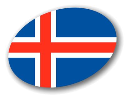 アイスランドの国旗-楕円