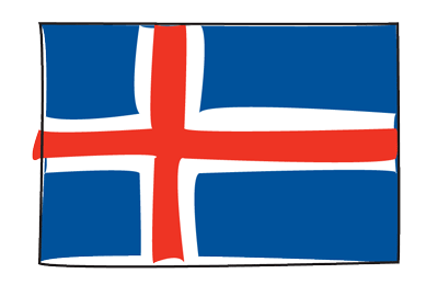アイスランドの国旗-グラフィティ
