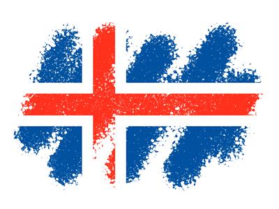 アイスランドの国旗-クレヨン1