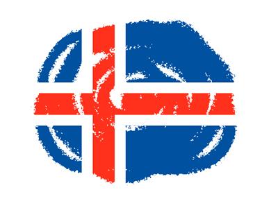 アイスランドの国旗-クレヨン2