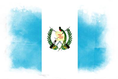 グアテマラ共和国の国旗-水彩風
