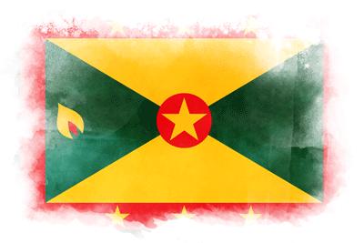 グレナダの国旗-水彩風