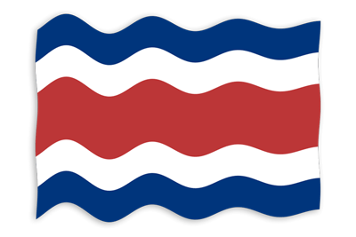 コスタリカ共和国の国旗-波