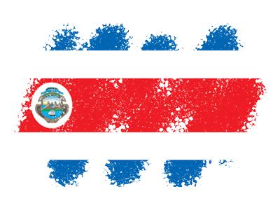 コスタリカ共和国の国旗-クレヨン1