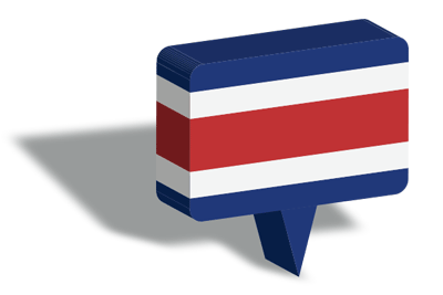 コスタリカ共和国の国旗-マップピン