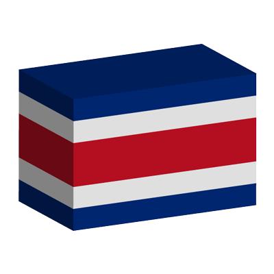 コスタリカ共和国の国旗-積み木
