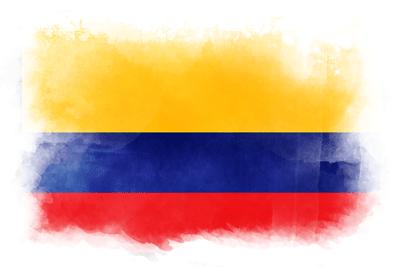コロンビア共和国の国旗-水彩風