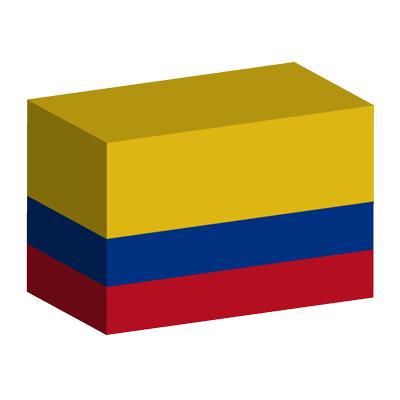 コロンビア共和国の国旗-積み木