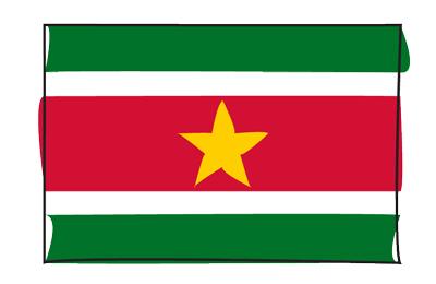 スリナム共和国の国旗-グラフィティ