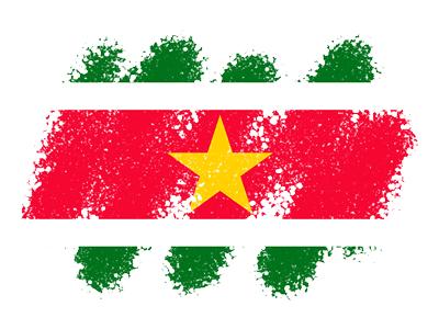 スリナム共和国の国旗-クレヨン1
