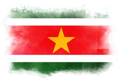 スリナム共和国の国旗-水彩風