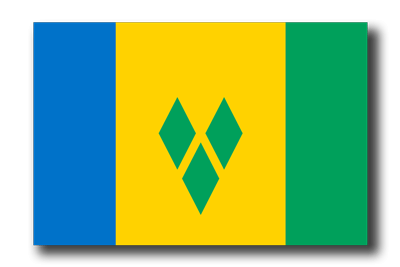 セントビンセント・グレナディーン諸島の国旗-ドロップシャドウ