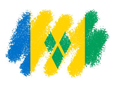 セントビンセント・グレナディーン諸島の国旗-クレヨン1