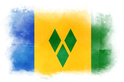 セントビンセント・グレナディーン諸島の国旗-水彩風