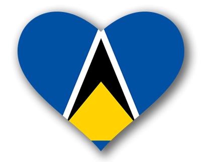 セントルシアの国旗-ハート
