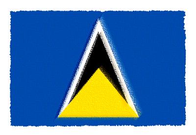 セントルシアの国旗-パステル