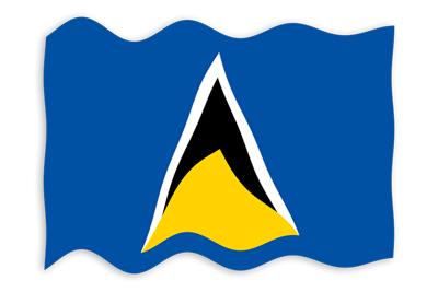 セントルシアの国旗-波