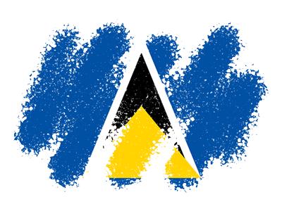 セントルシアの国旗-クレヨン1