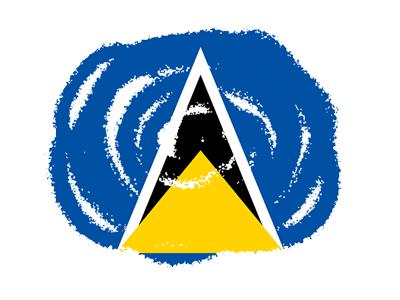 セントルシアの国旗-クラヨン2