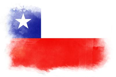 チリ共和国の国旗-水彩風