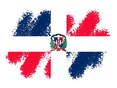 ドミニカ共和国の国旗-クレヨン1