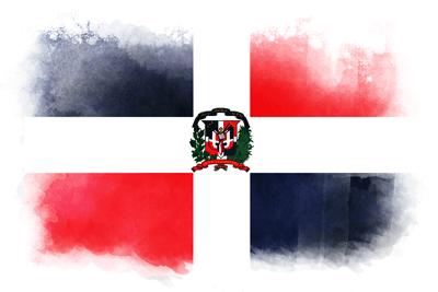 ドミニカ共和国の国旗-水彩風