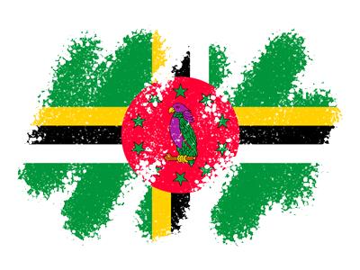 ドミニカ国の国旗-クレヨン1