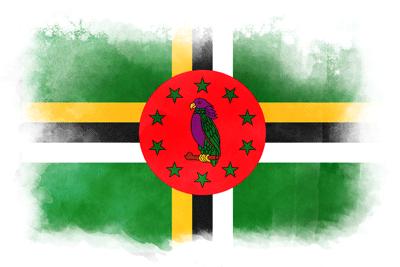 ドミニカ国の国旗-水彩風