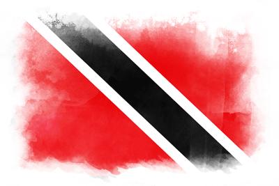 トリニダード・トバゴ共和国の国旗-水彩風