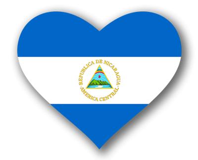 ニカラグア共和国の国旗-ハート