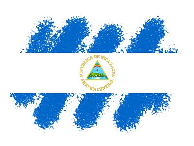 ニカラグア共和国の国旗-クレヨン1