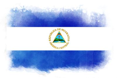 ニカラグア共和国の国旗-水彩風