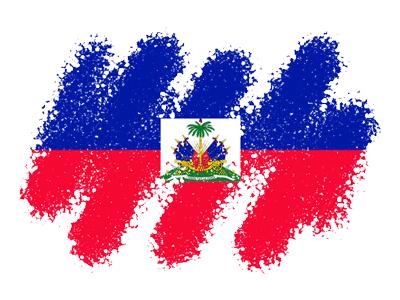ハイチ共和国の国旗-クレヨン1