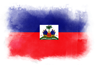 ハイチ共和国の国旗-水彩風