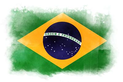 ブラジル連邦共和国の国旗-水彩風