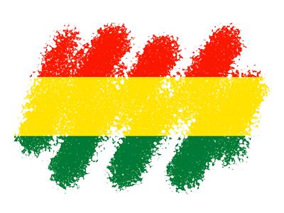 ボリビア多民族国の国旗-クレヨン1