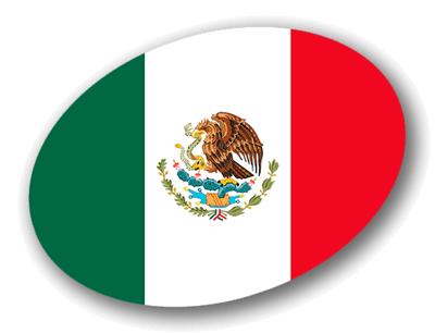 メキシコ合衆国の国旗-楕円