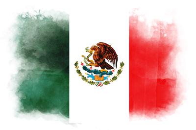 メキシコ合衆国の国旗-水彩風