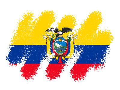 エクアドル共和国の国旗-クレヨン1