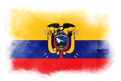 エクアドル共和国の国旗-水彩風