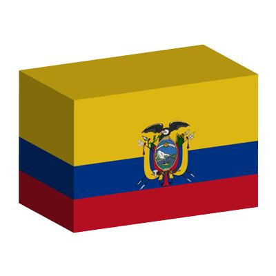 エクアドル共和国の国旗-積み木