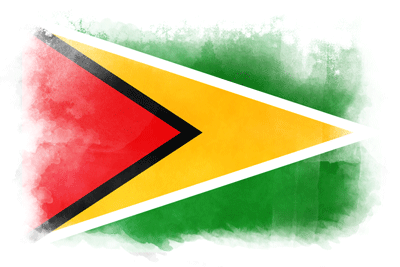 ガイアナ共和国の国旗-水彩風