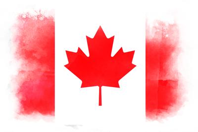 カナダの国旗-水彩風