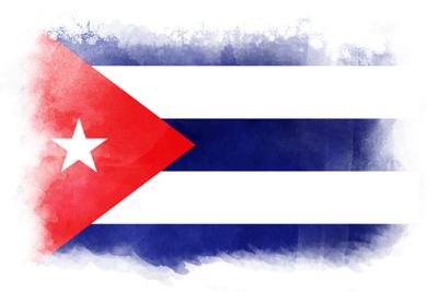 キューバ共和国の国旗-水彩風