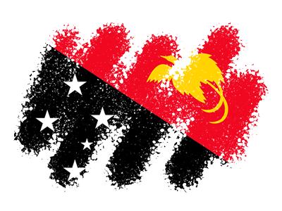 パプアニューギニア独立国の国旗-クレヨン1