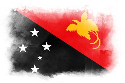 パプアニューギニア独立国の国旗-水彩風