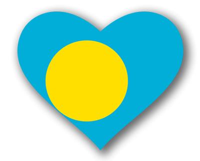 パラオ共和国の国旗-ハート