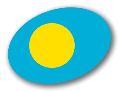 パラオ共和国の国旗-楕円