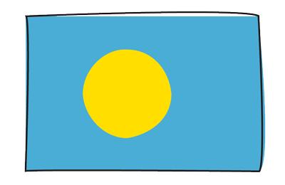 パラオ共和国の国旗-グラフィティ